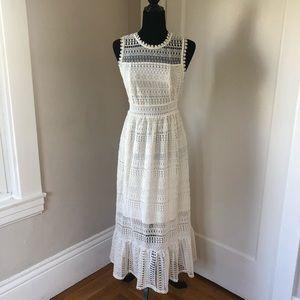 Anthropologie White Lace Midi Dress (Eri & Ali)